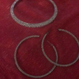 Juicy Couture rhinestone bangle bracelet/earrings